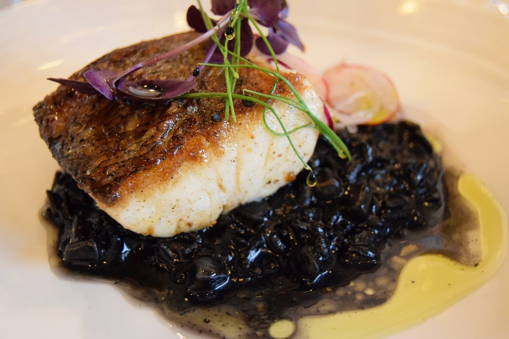 Roast Hake and Squid Ink Risotto