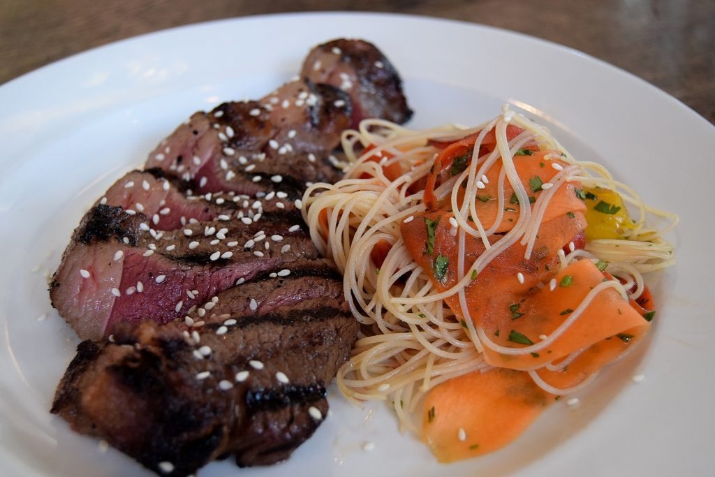 Asian Style Grilled Beef with a rice noodle salad