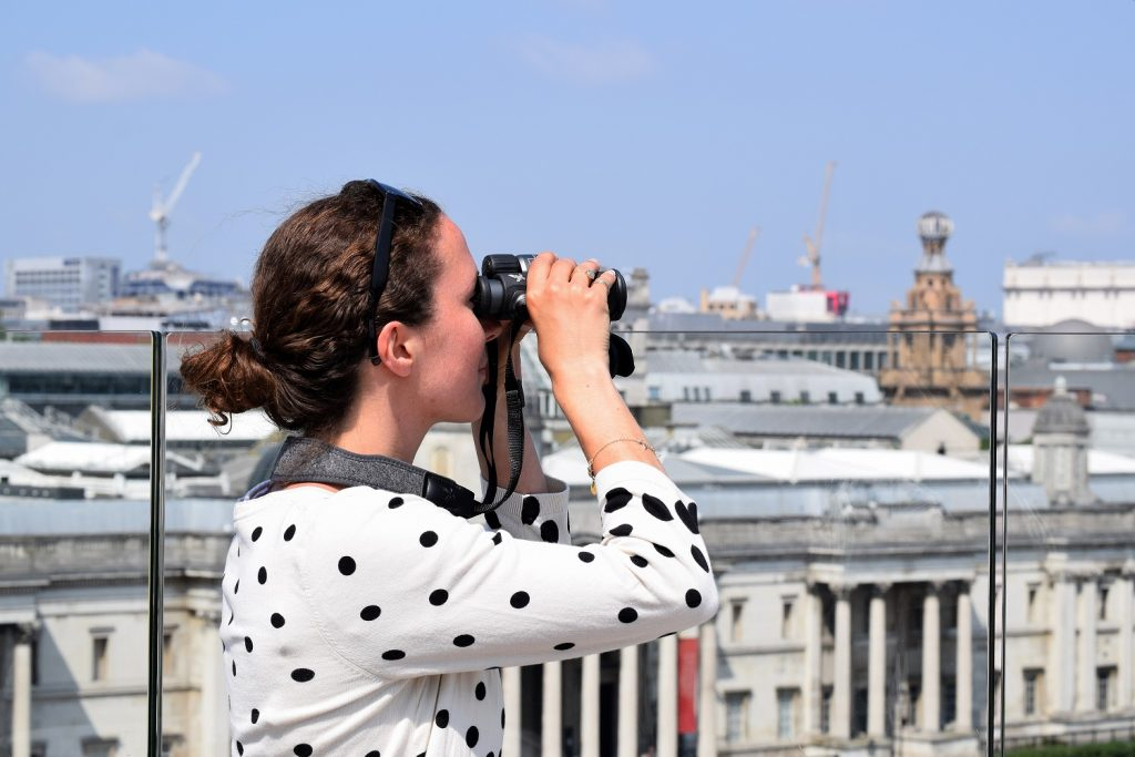 SWAROVSKI OPTIK CL Companion binoculars on top of The Trafalgar St James Hotel – Photo by Simon Burrell
