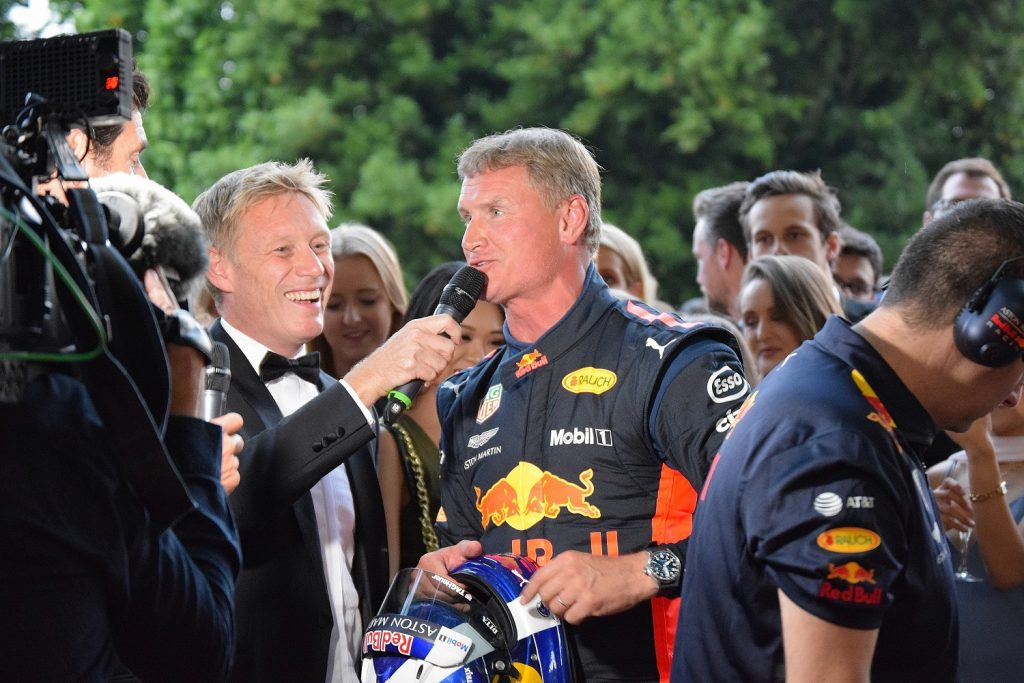 David Coulthard being interviewed by Simon Lazenby