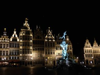 Antwerp lit up at night