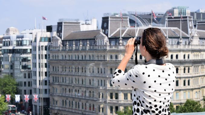 Swarovski Optik CL Companion binoculars on top of The Trafalgar St James Hotel