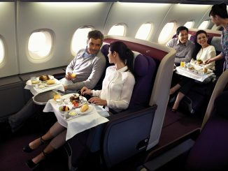 Airline food being served