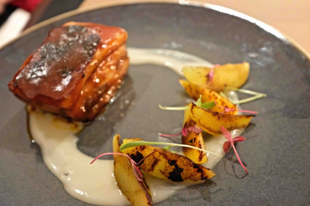 BBQ pork belly with Bramley apple sauce