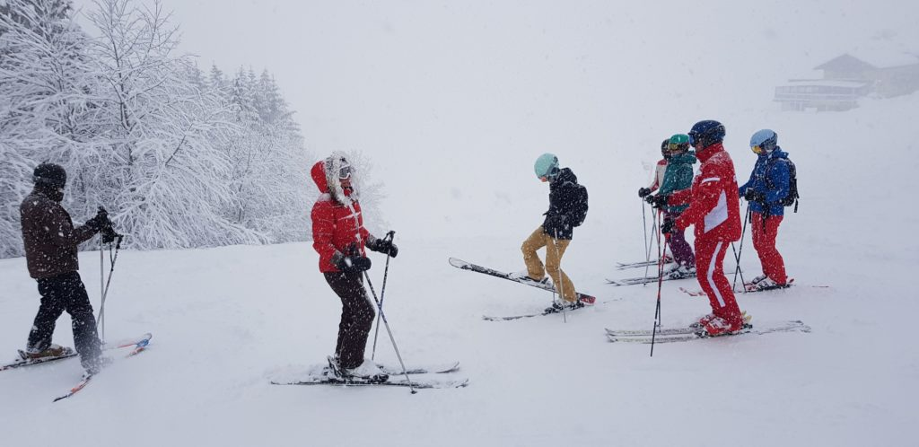 Snowy ski conditions on Maria Alm slopes