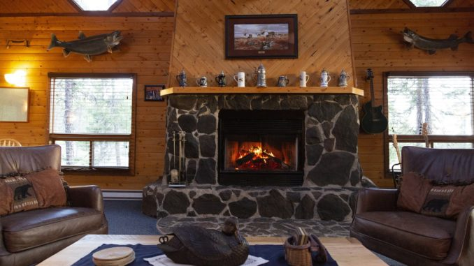 Hearth at main lodge at Gangler's North Seal River