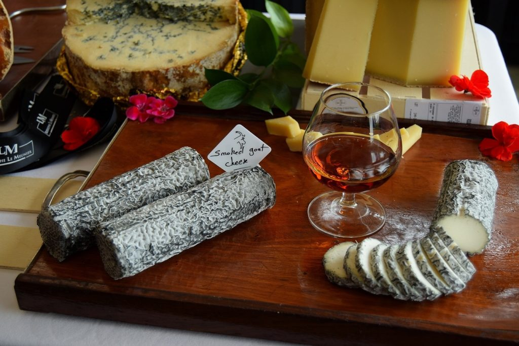 Glass of St-Rémy and cheese