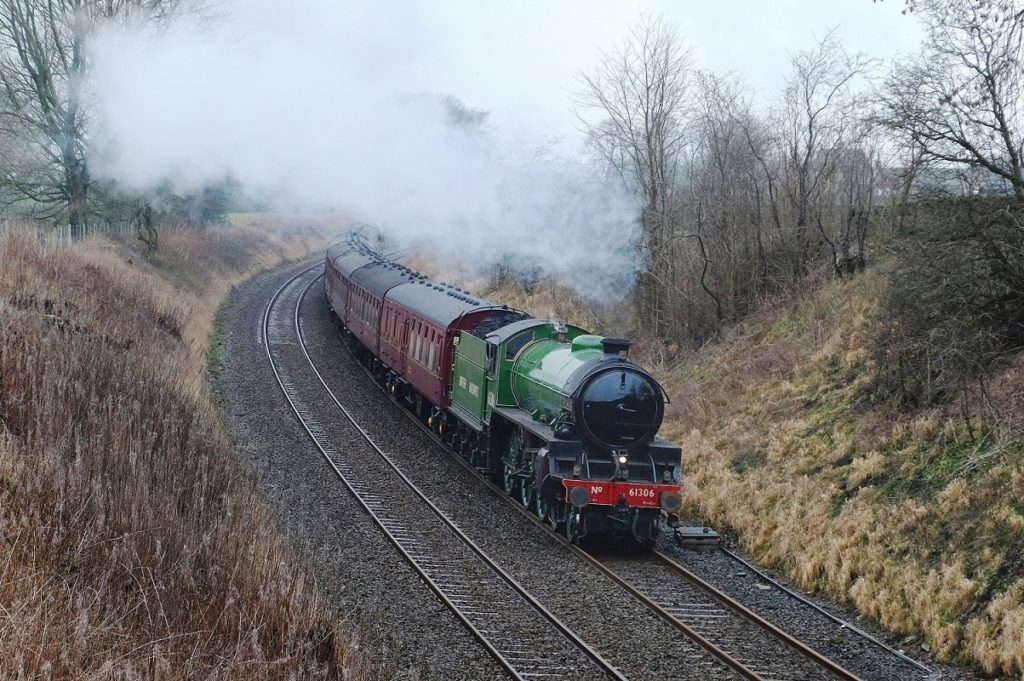 Mayflower steaming through the countryside