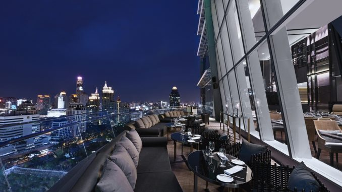 The Okura Prestige Bangkok Up and Above Bar at night