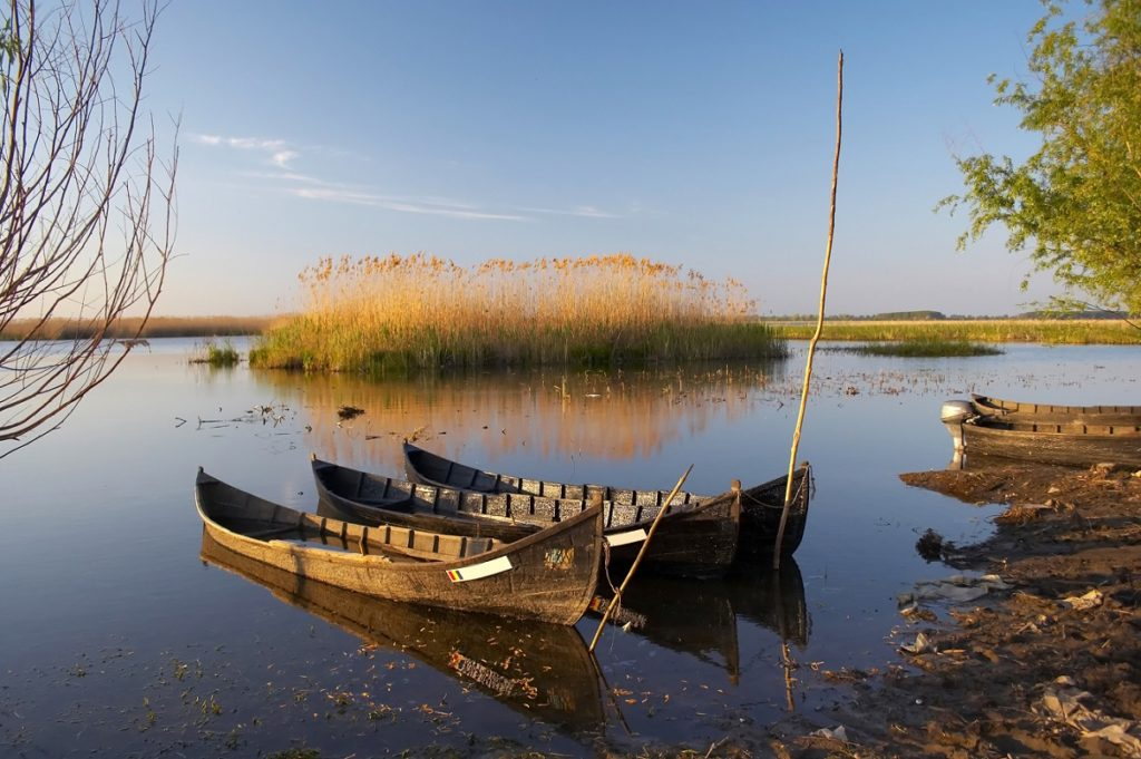 Fishing boats in the Danube Delta