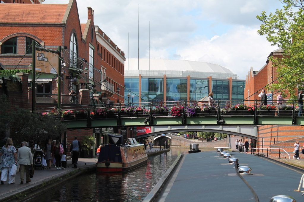 Passing through the centre of Birmingham on narrowboat