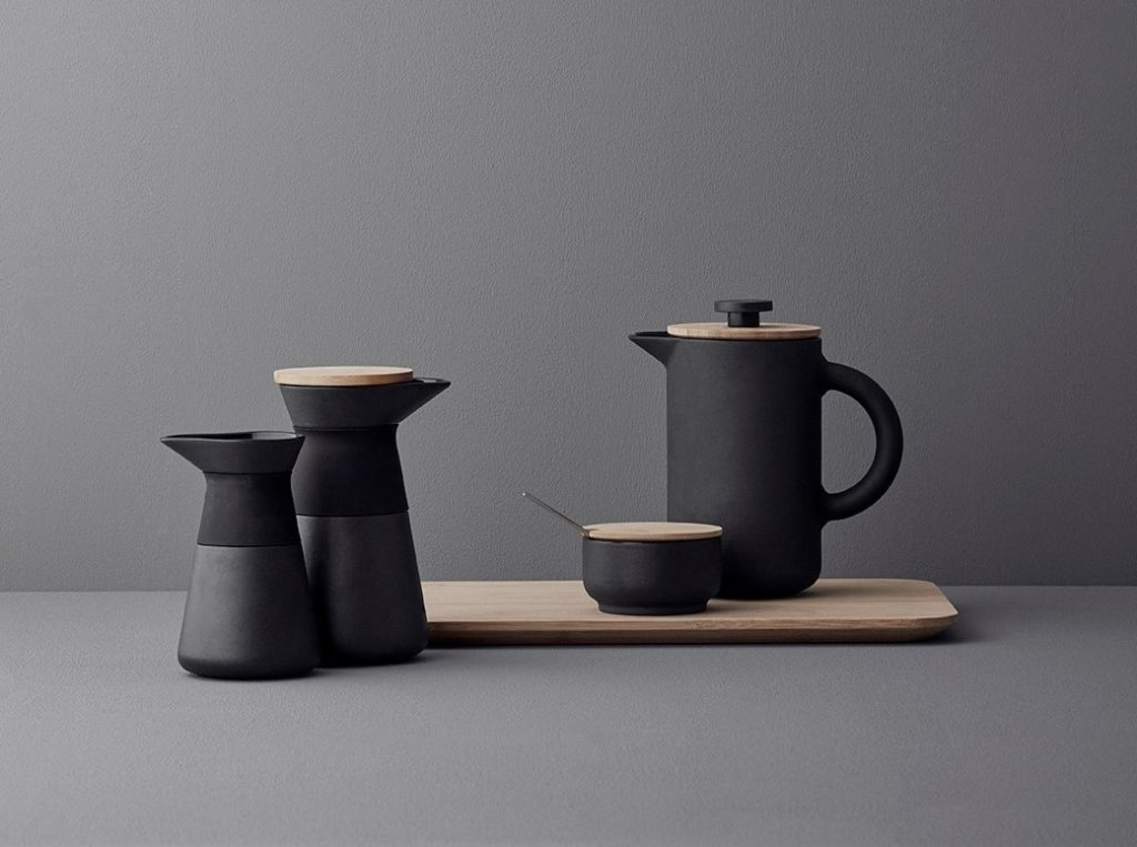 Stelton Theo French Press Coffee Maker and Cups
