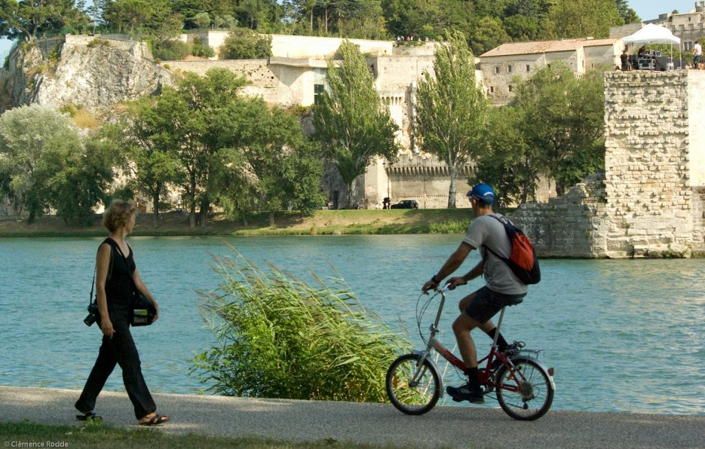 Cycling alongside the Rhône