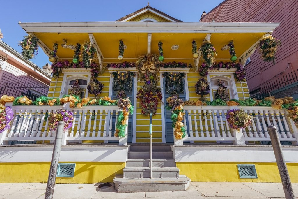 Mardi Gras decorated house in New Orleans