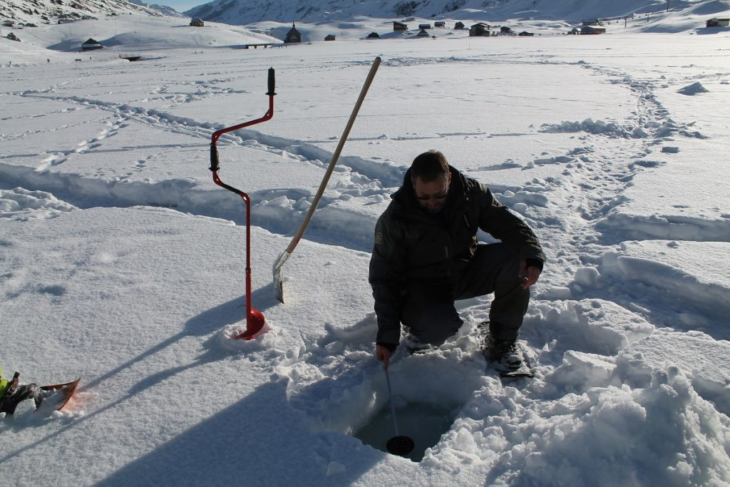 Preparing the ice hole