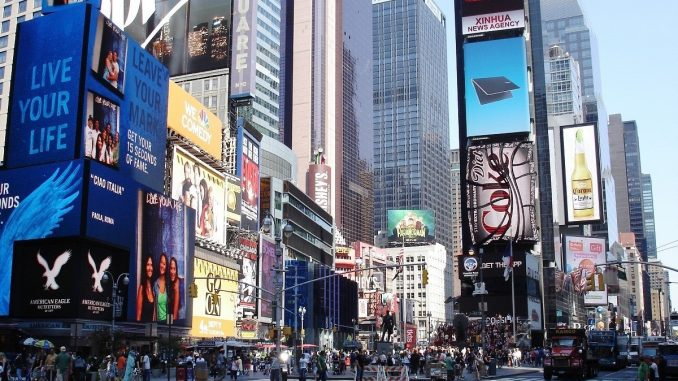 Times Square and Broadway in New York City