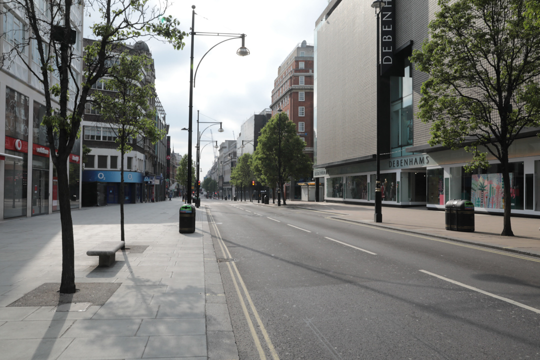 A completely empty Oxford Street