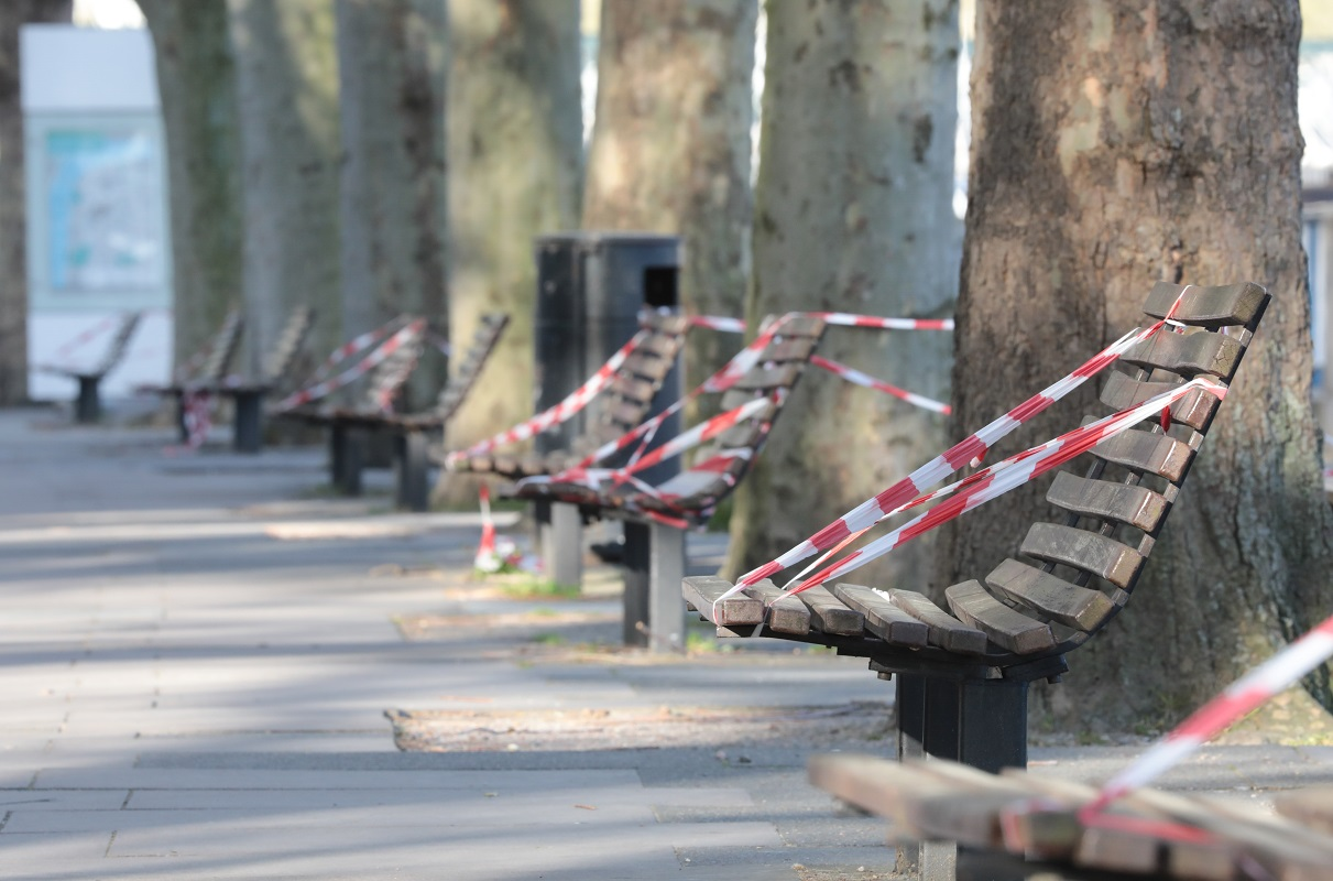Park benches taped off