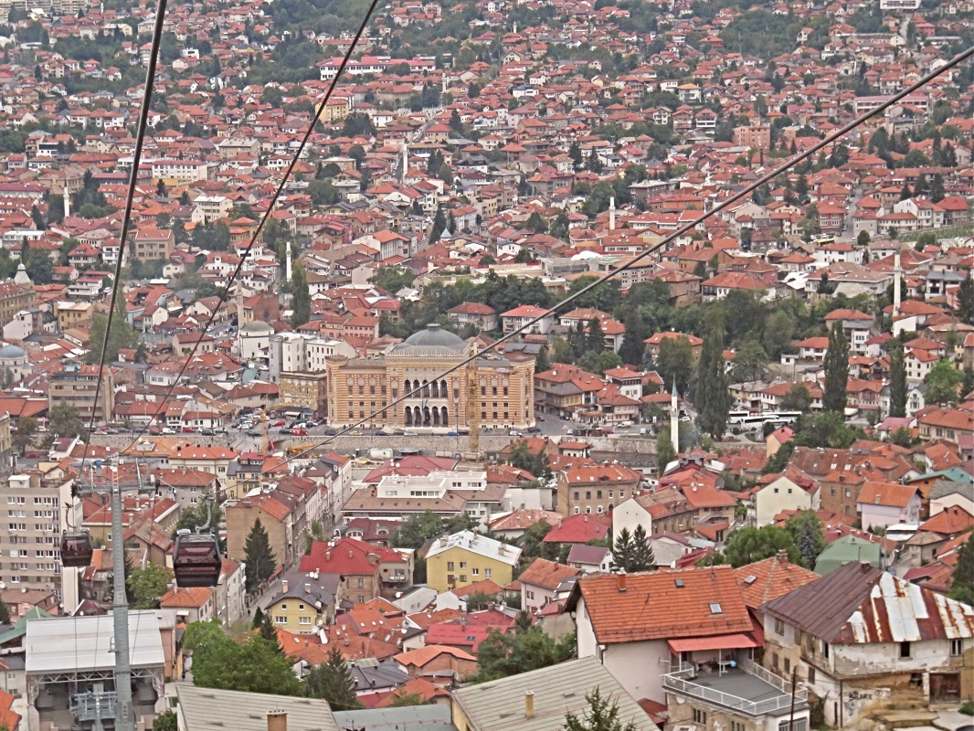 Sarajevo Town Hall - taken from Cable Car