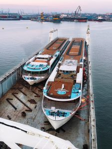 Two AmaWaterways ships in cargo ship