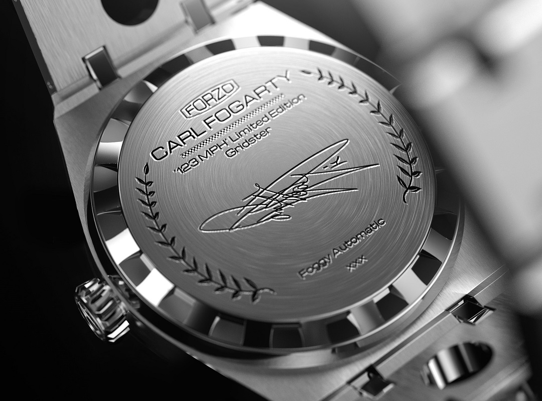Watch case signed by Carl Fogarty